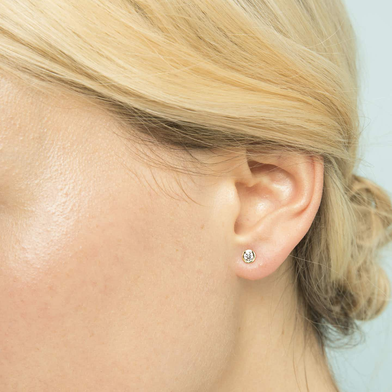 Closeup image of Diamond Bezel Earrings