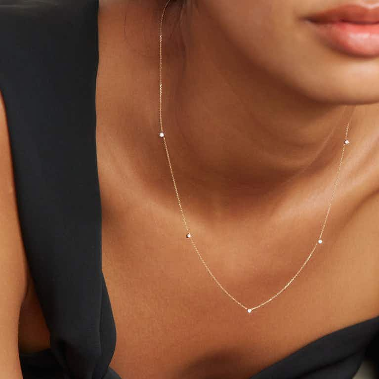 Closeup image of Tiny Station Necklace