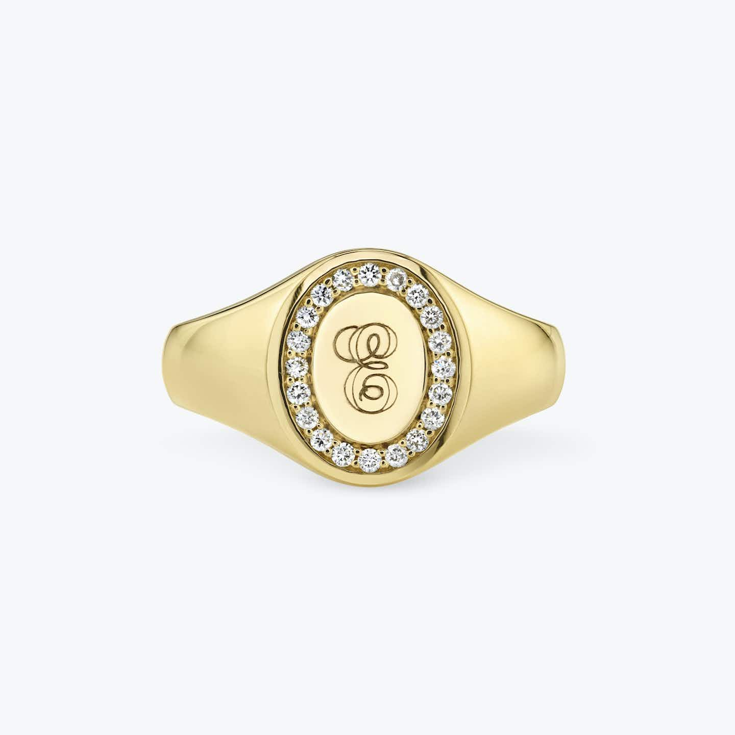 Closeup image of The Pave Signet Ring