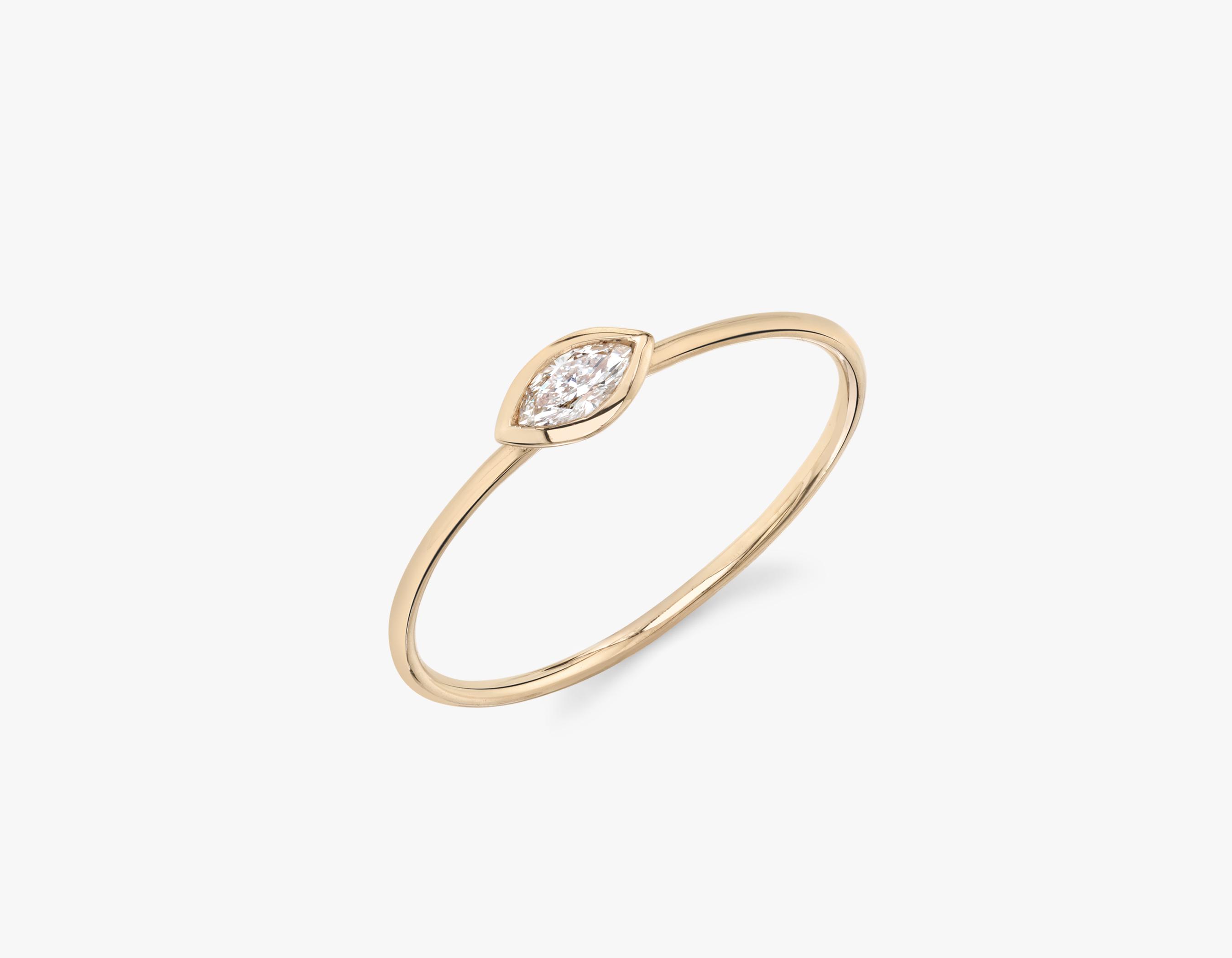 Marquise Diamond Bezel Ring Sustainably Created Diamond