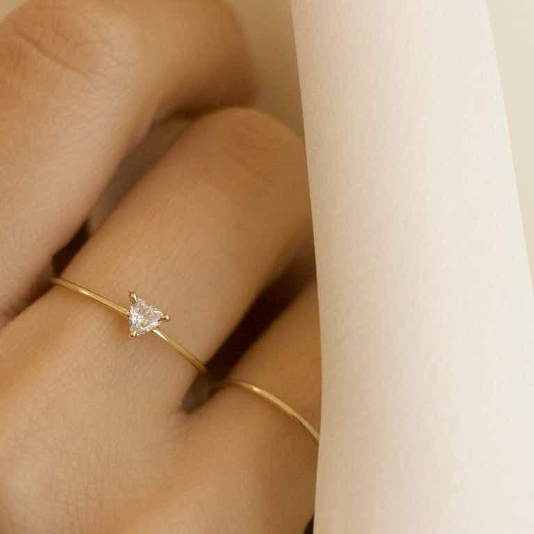 Closeup image of Trillion Diamond Ring