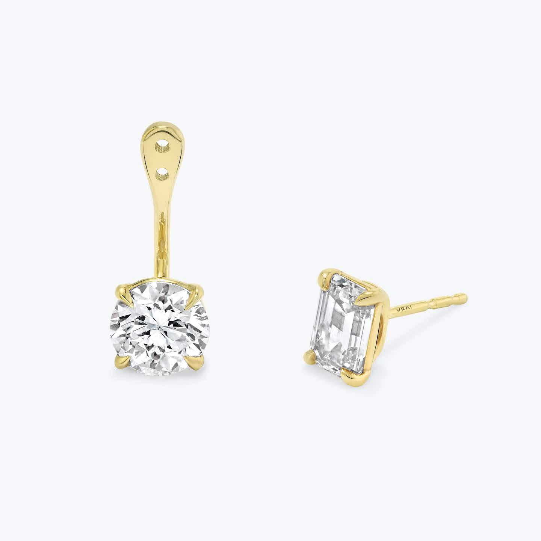 Closeup image of Solitaire Diamond Drop Ear Jacket