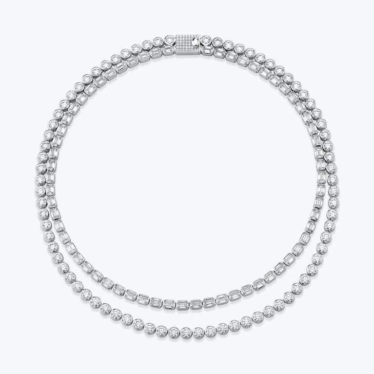Closeup image of Celestial Double Strand Tennis Necklace