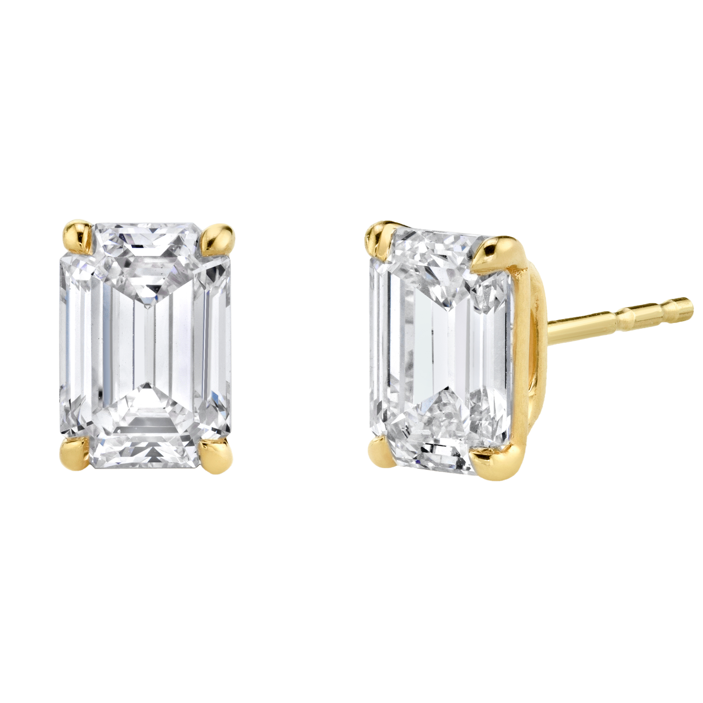 Solitaire Emerald Diamond Studs