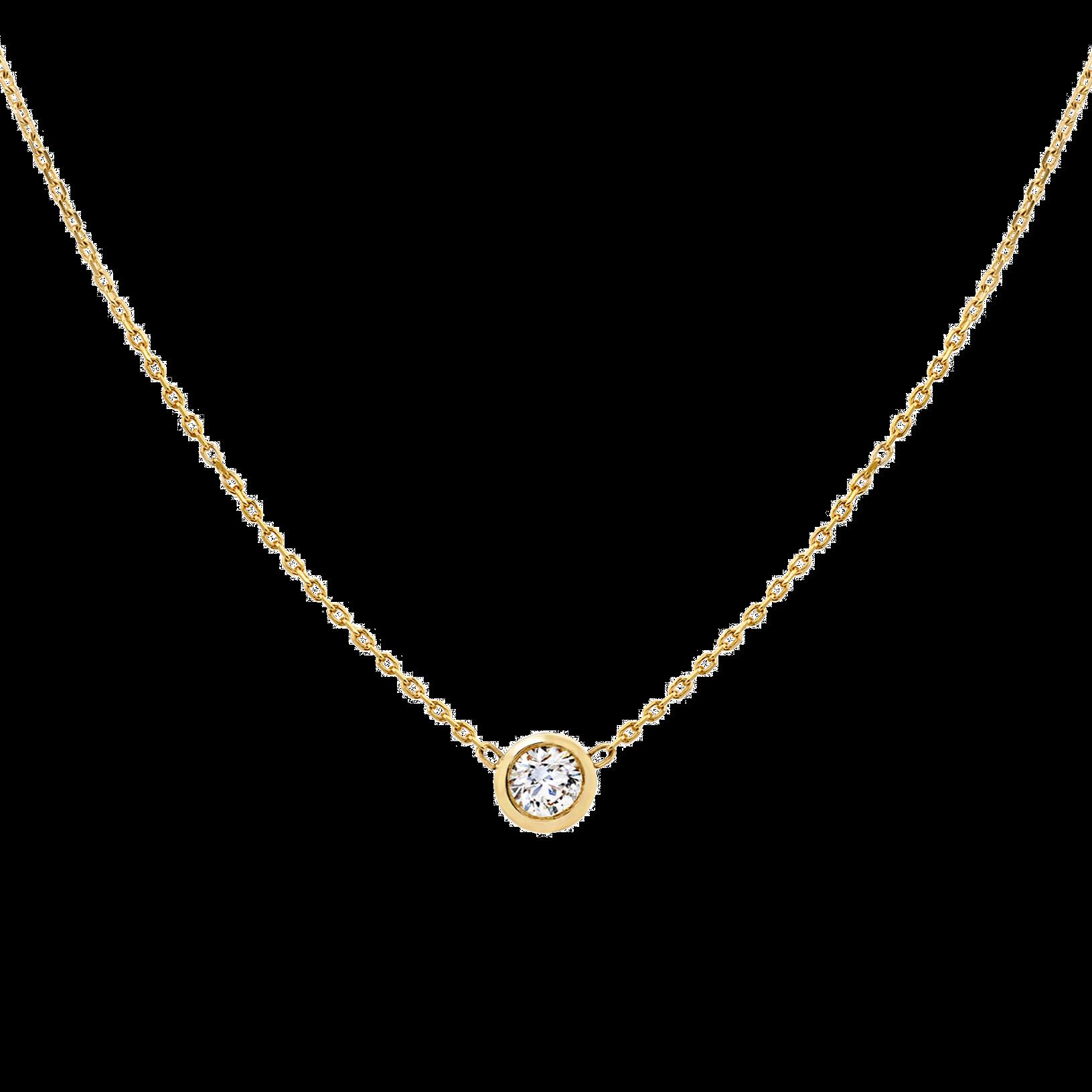 Round Diamond Bezel Necklace