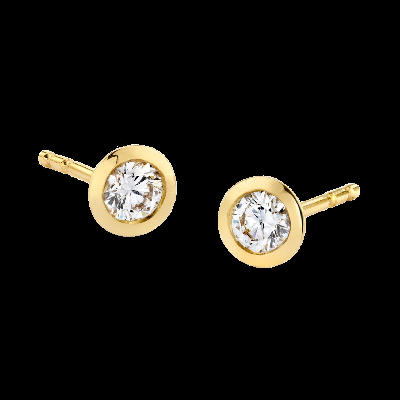 Round Diamond Bezel Earrings