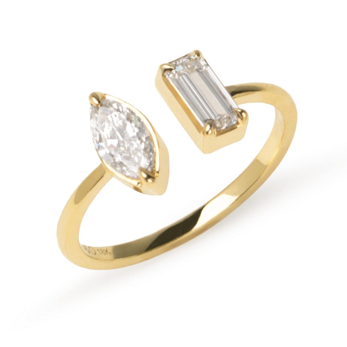Mix Diamond Cuff Ring