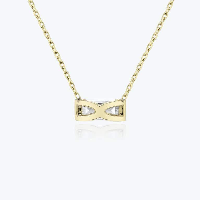 Closeup image of Baguette Semi-Bezel Necklace