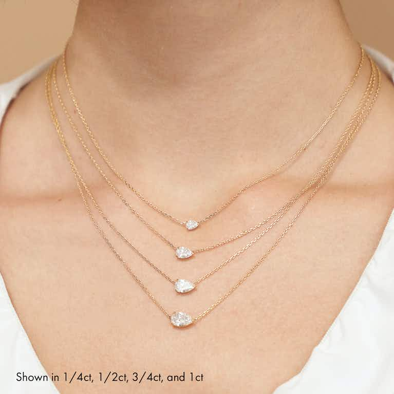 Closeup image of VRAI Solitaire Necklace