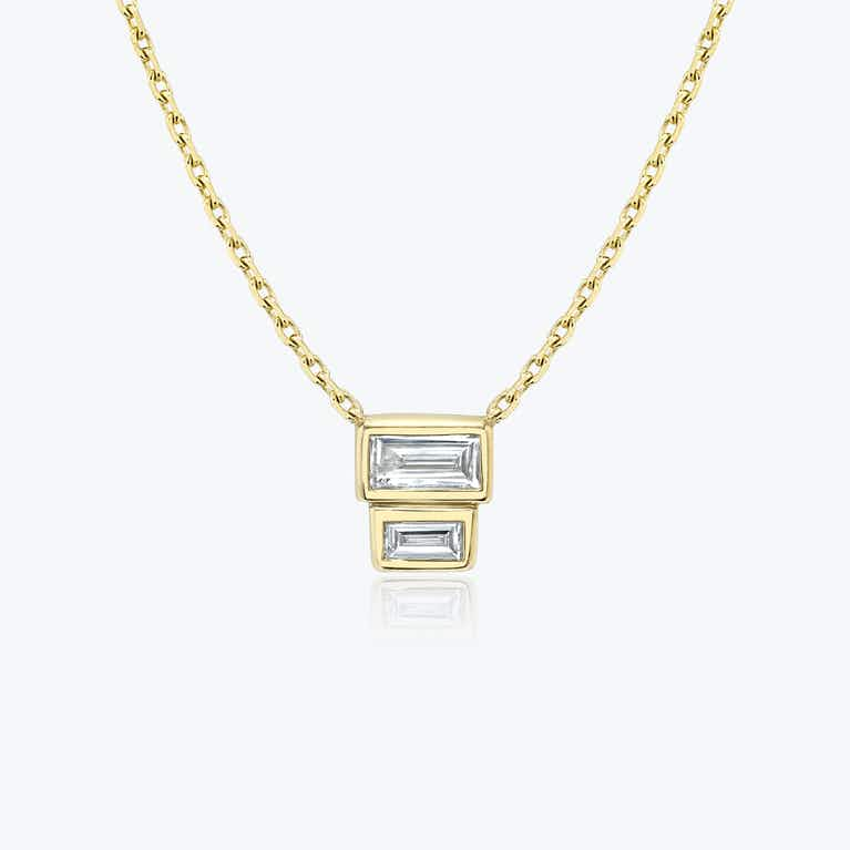Closeup image of Stacked Baguette Necklace