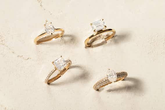 The signature engagement ring, the hover engagement ring, the curator engagement ring