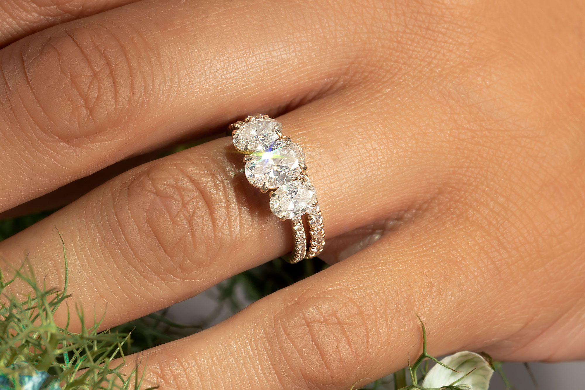 The oval three stone engagement ring