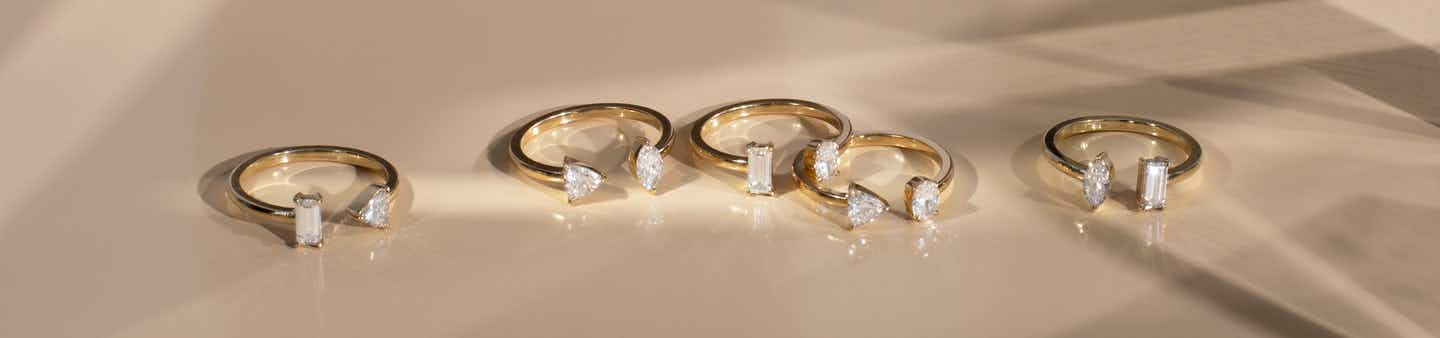 Mixed Cuff Rings with yellow gold bands