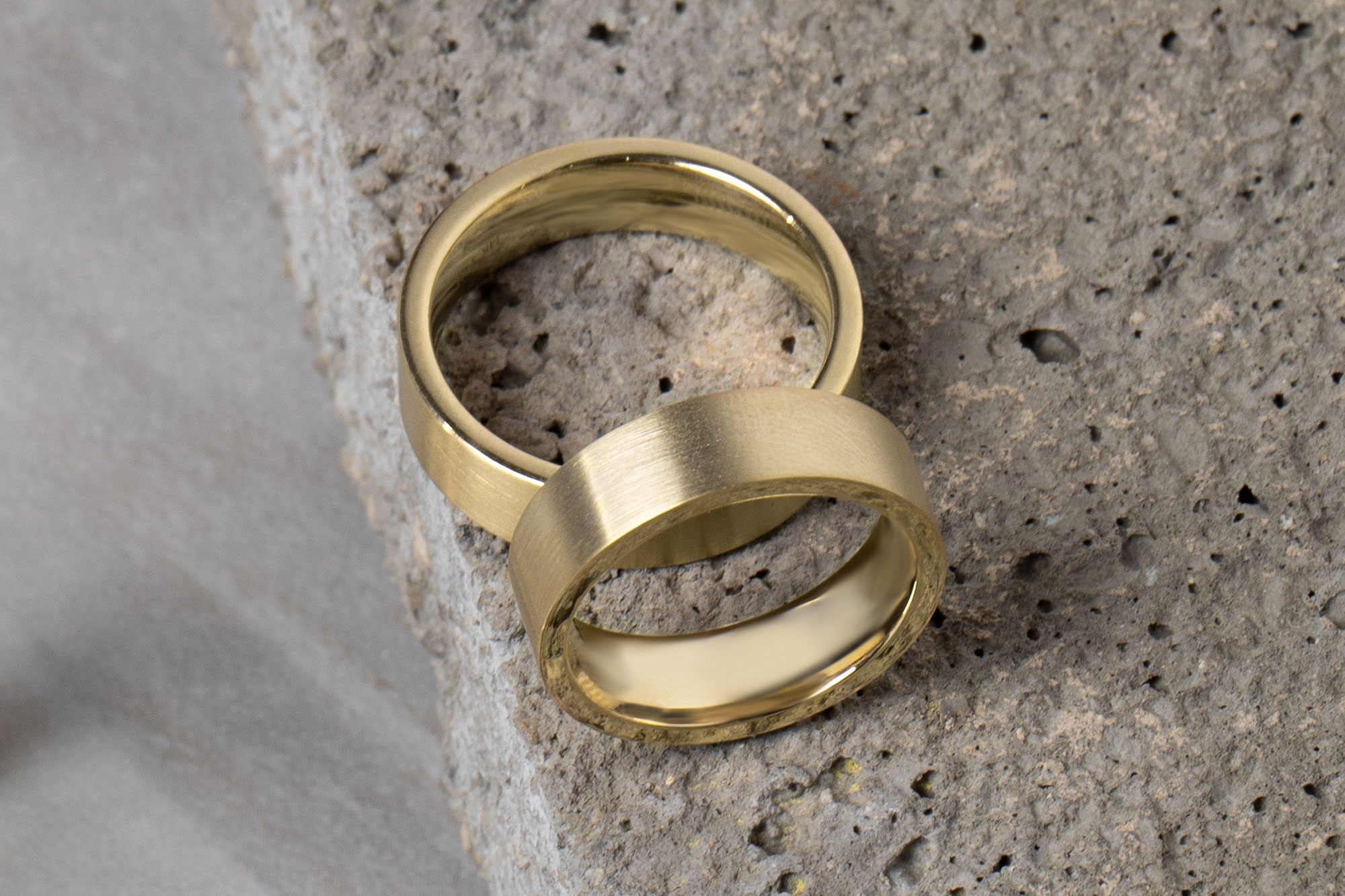 The Brushed Flat Wedding Band in yellow gold