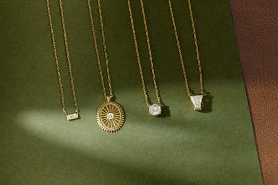 Baguette necklace, Medallion, Round Solitaire necklace, Keystone necklace