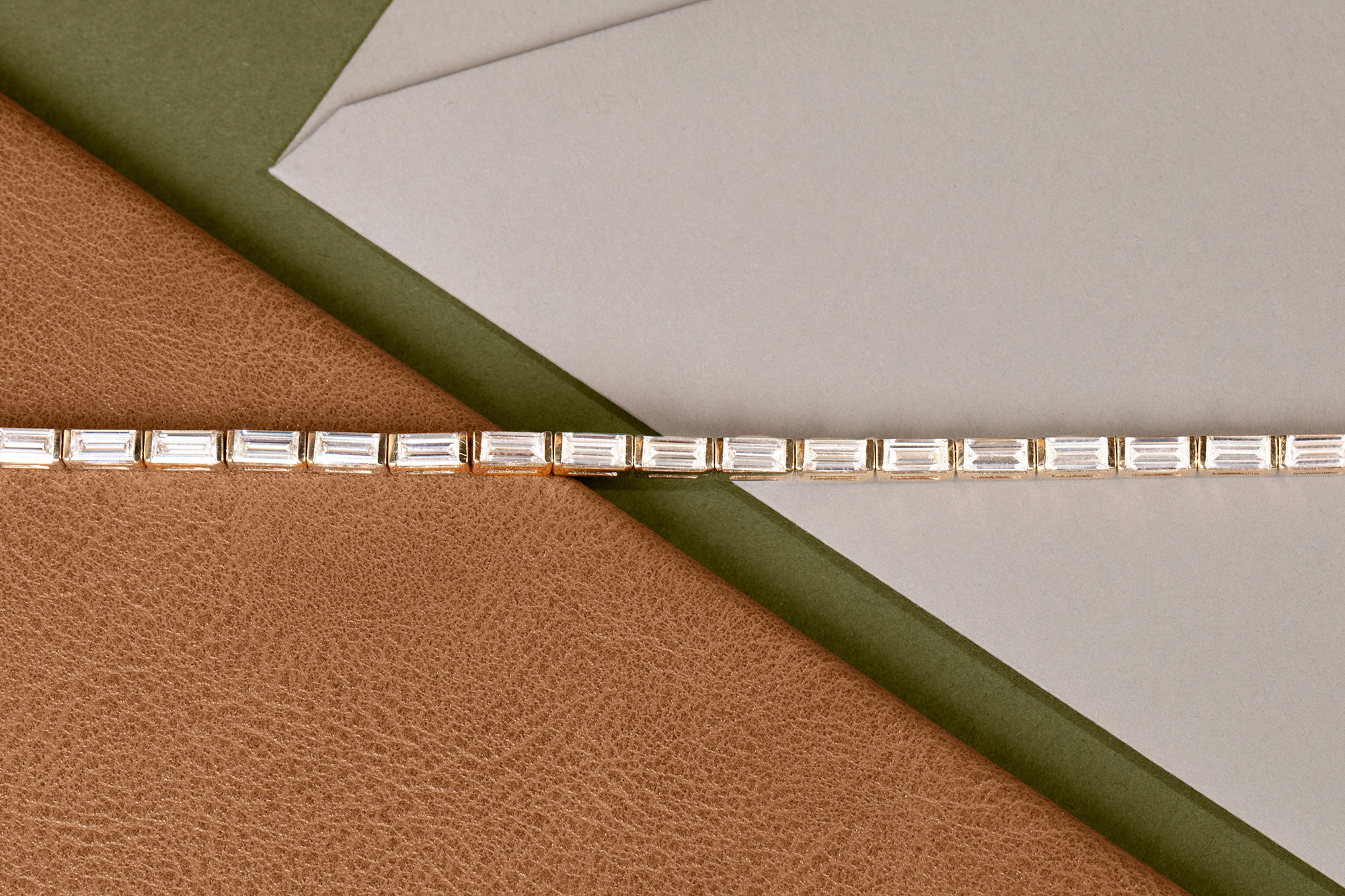 Yellow Gold Baguette Tennis Bracelet with lab-created diamonds