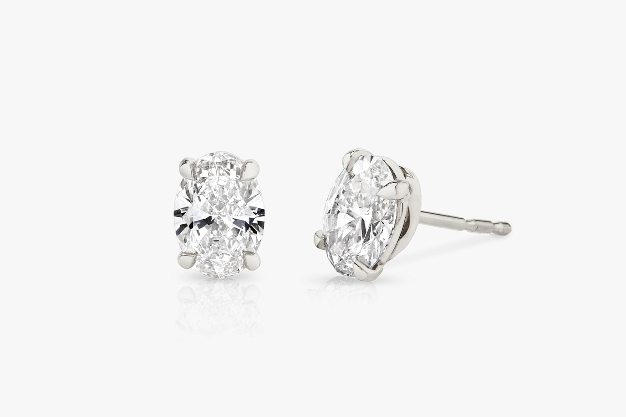 white gold, lab-grown diamonds, earrings