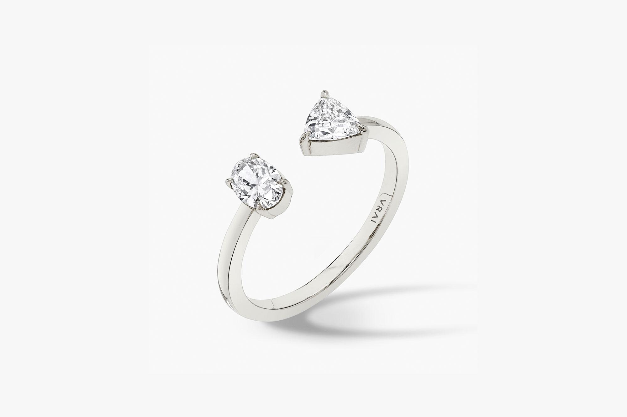 White gold, lab-grown diamond, oval diamond, trillion diamond