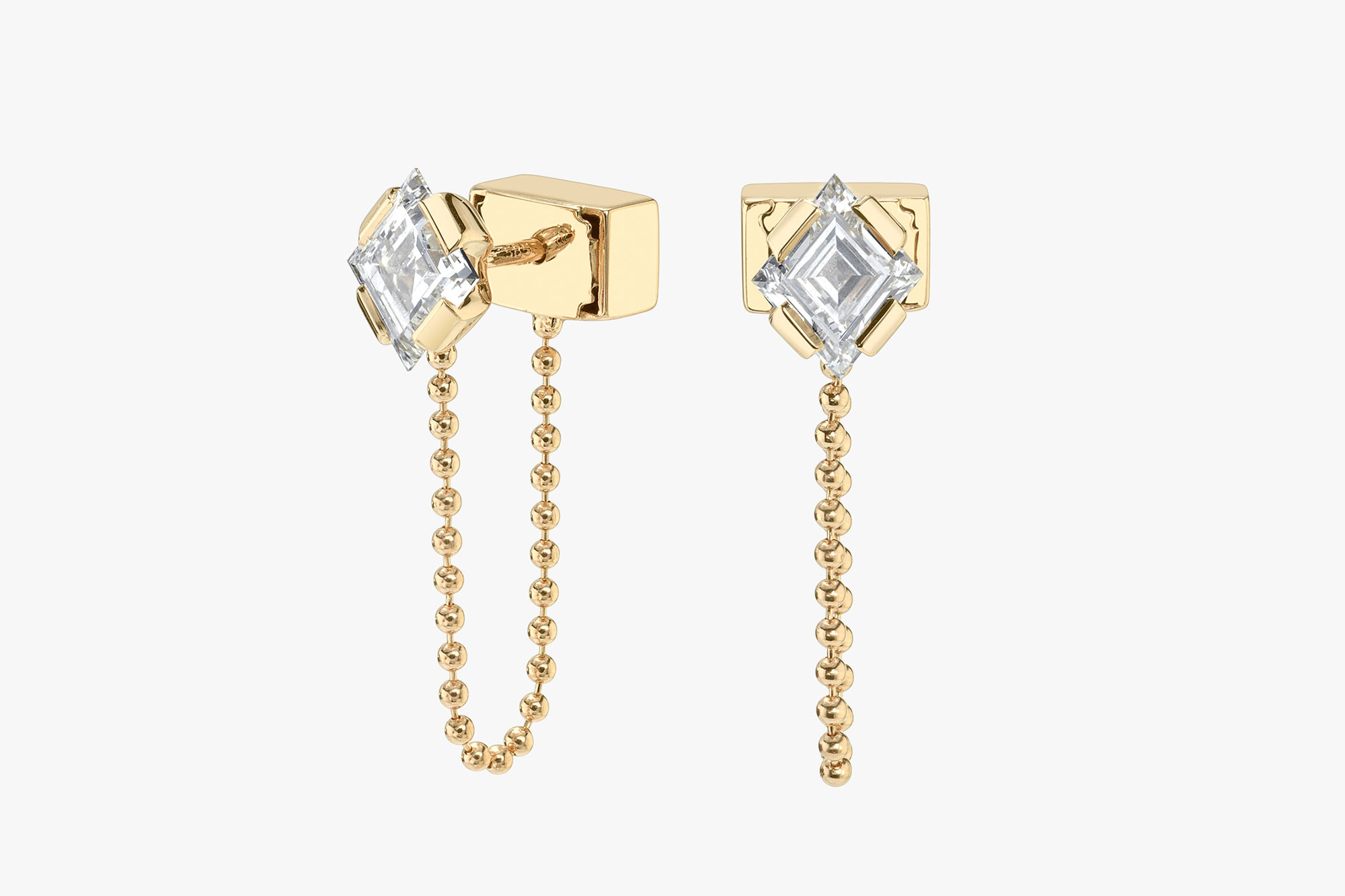 lab-grown diamonds, recycled solid gold, yellow gold