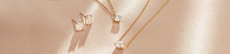 Lab-grown diamond earrings, lab-grown diamond necklace