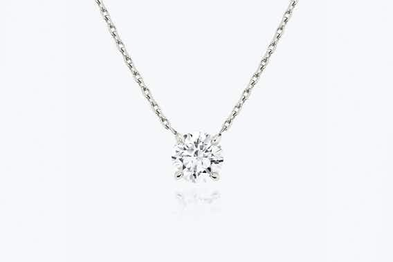 lab-grown diamond necklace, white gold, solitaire necklace