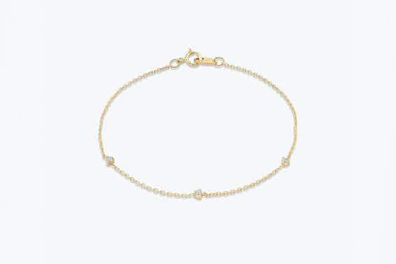 bridal jewelry, tiny station necklace, yellow gold, lab-grown diamond