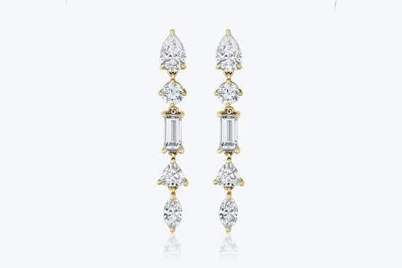 bridal jewelry, mixed drop earrings, lab-grown diamonds, yellow gold