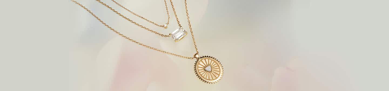Tiny diamond necklace, Solitaire necklace, medallion