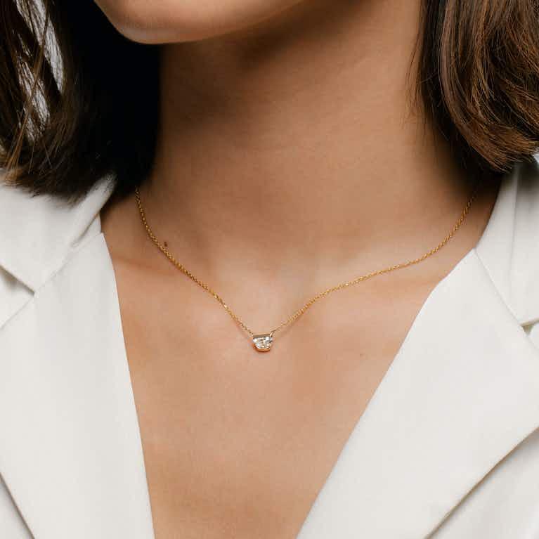 Closeup image of Semi-Bezel Necklace