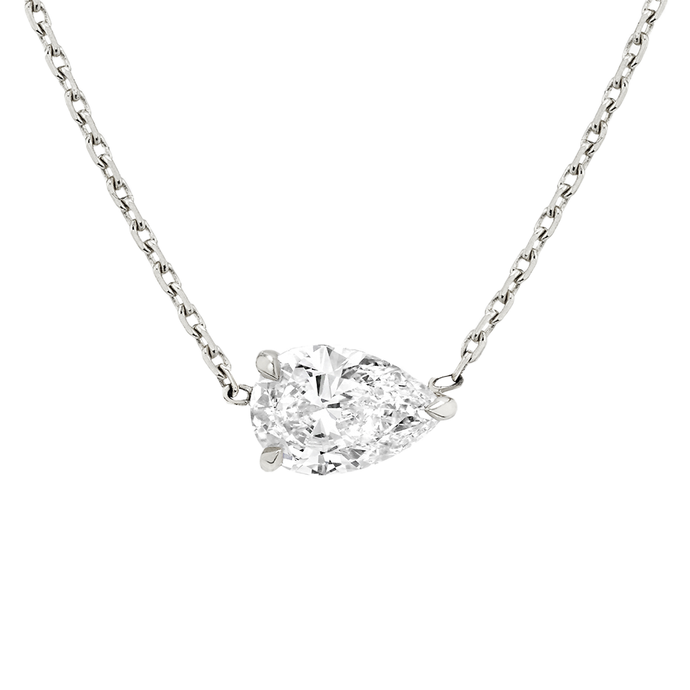Solitaire pear necklace WG