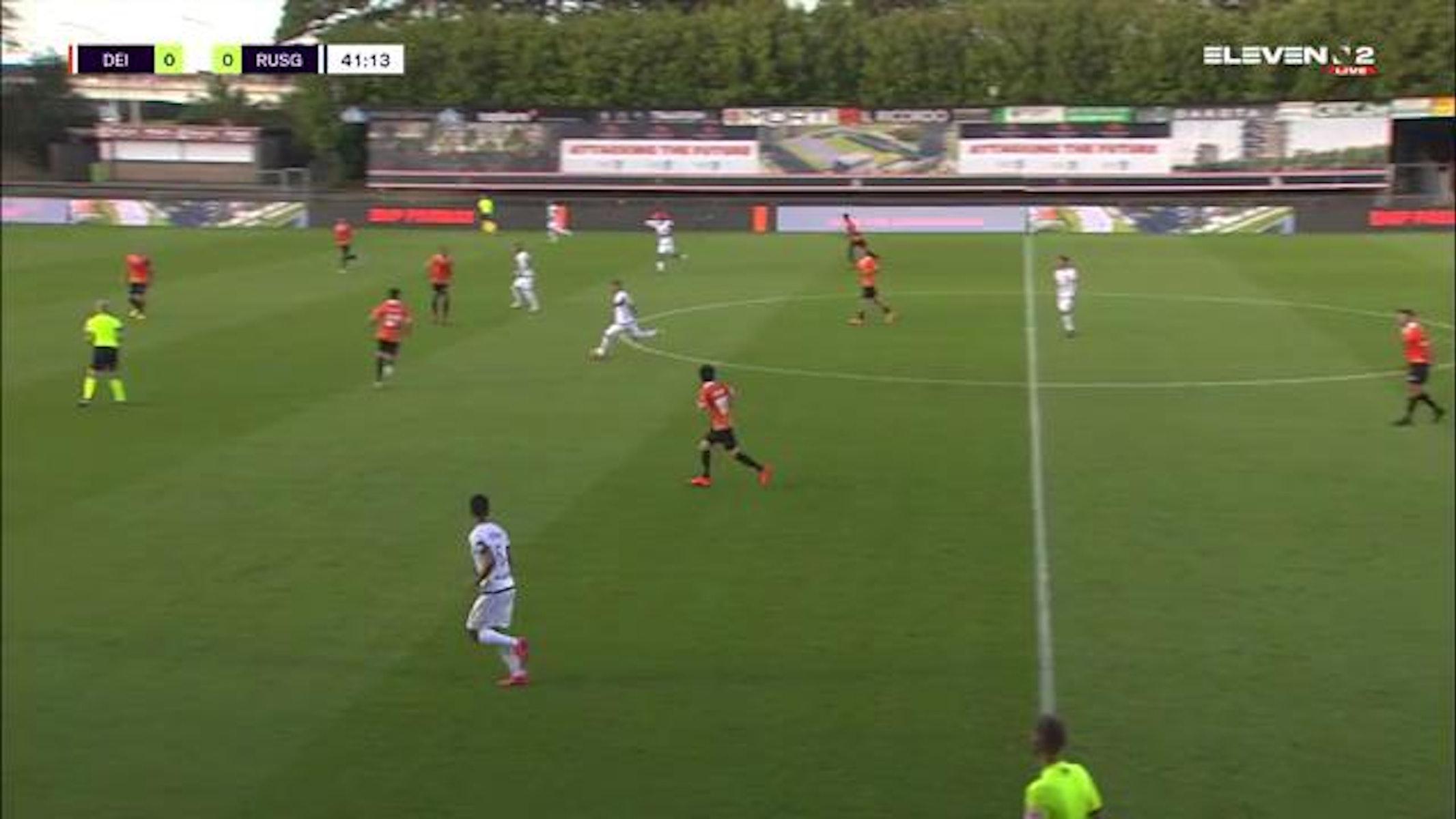 Doelpunt Mathias Fixelles (KMSK Deinze vs. Royale Union Saint-Gilloise)