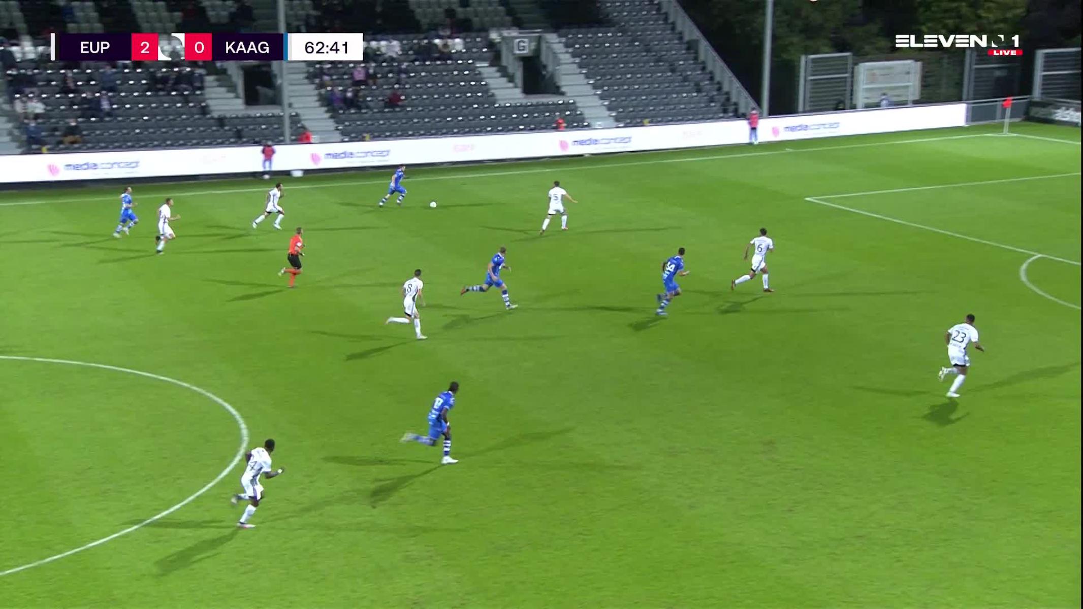 Doelpunt Sven Kums (KAS Eupen vs. KAA Gent)