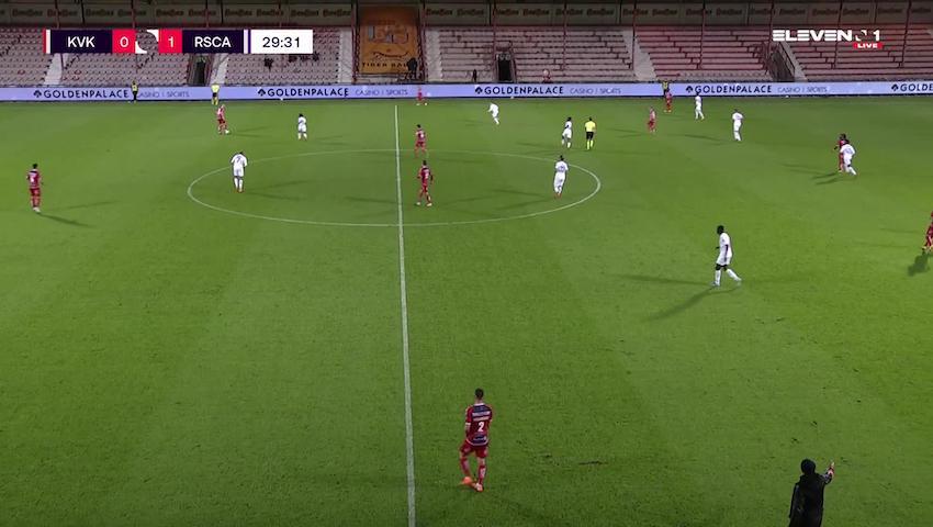 Doelpunt Percy Tau (KV Kortrijk vs. RSC Anderlecht)