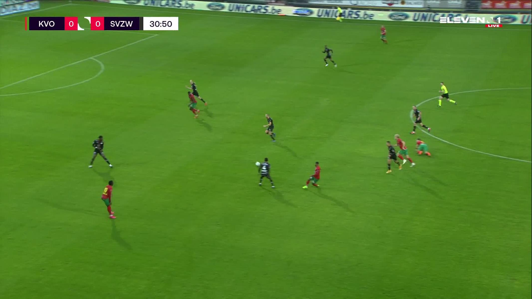 Doelpunt Kevin Vandendriessche (KV Oostende vs. SV Zulte Waregem)