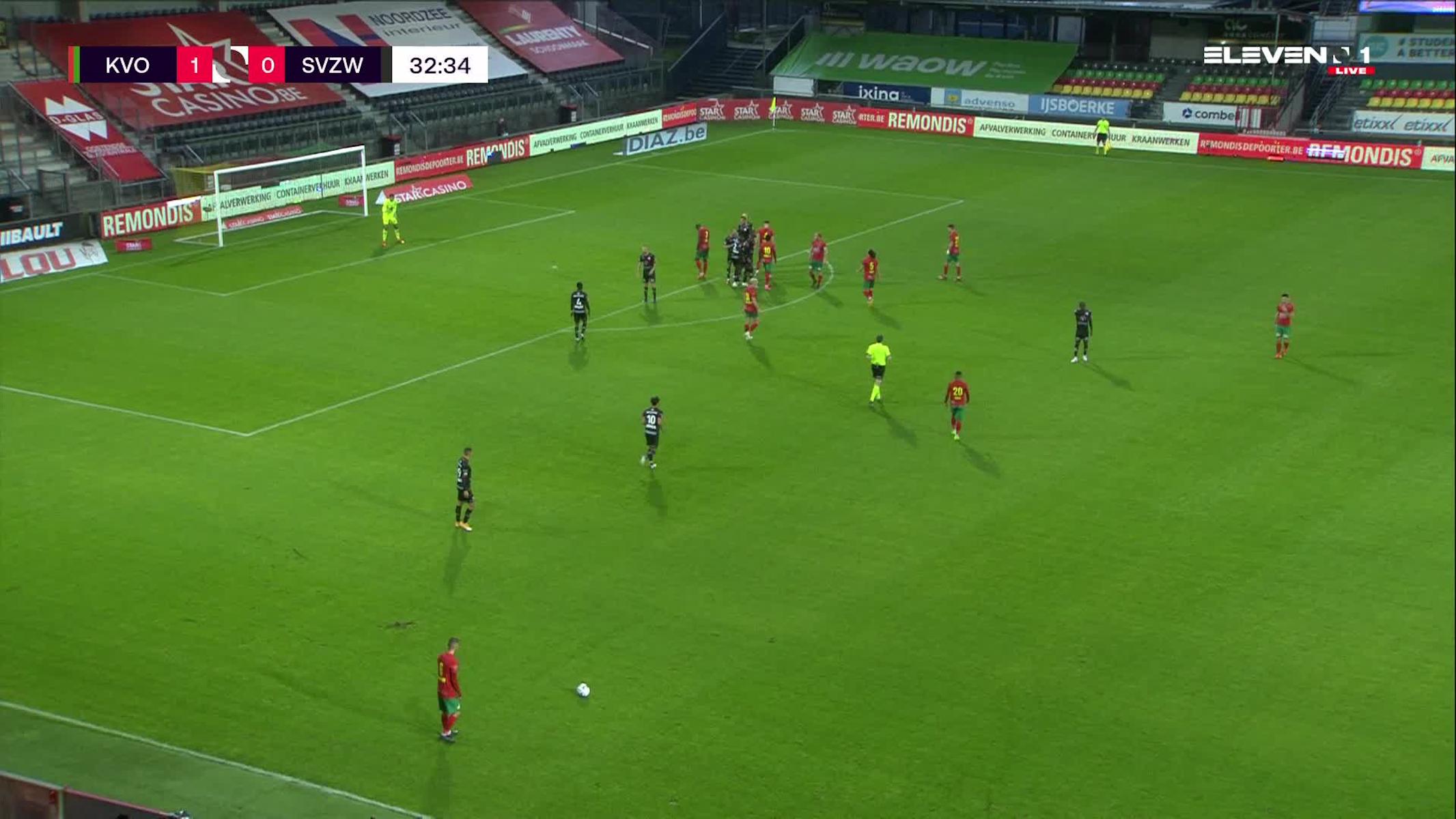 Doelpunt Maxime D'Arpino (KV Oostende vs. SV Zulte Waregem)