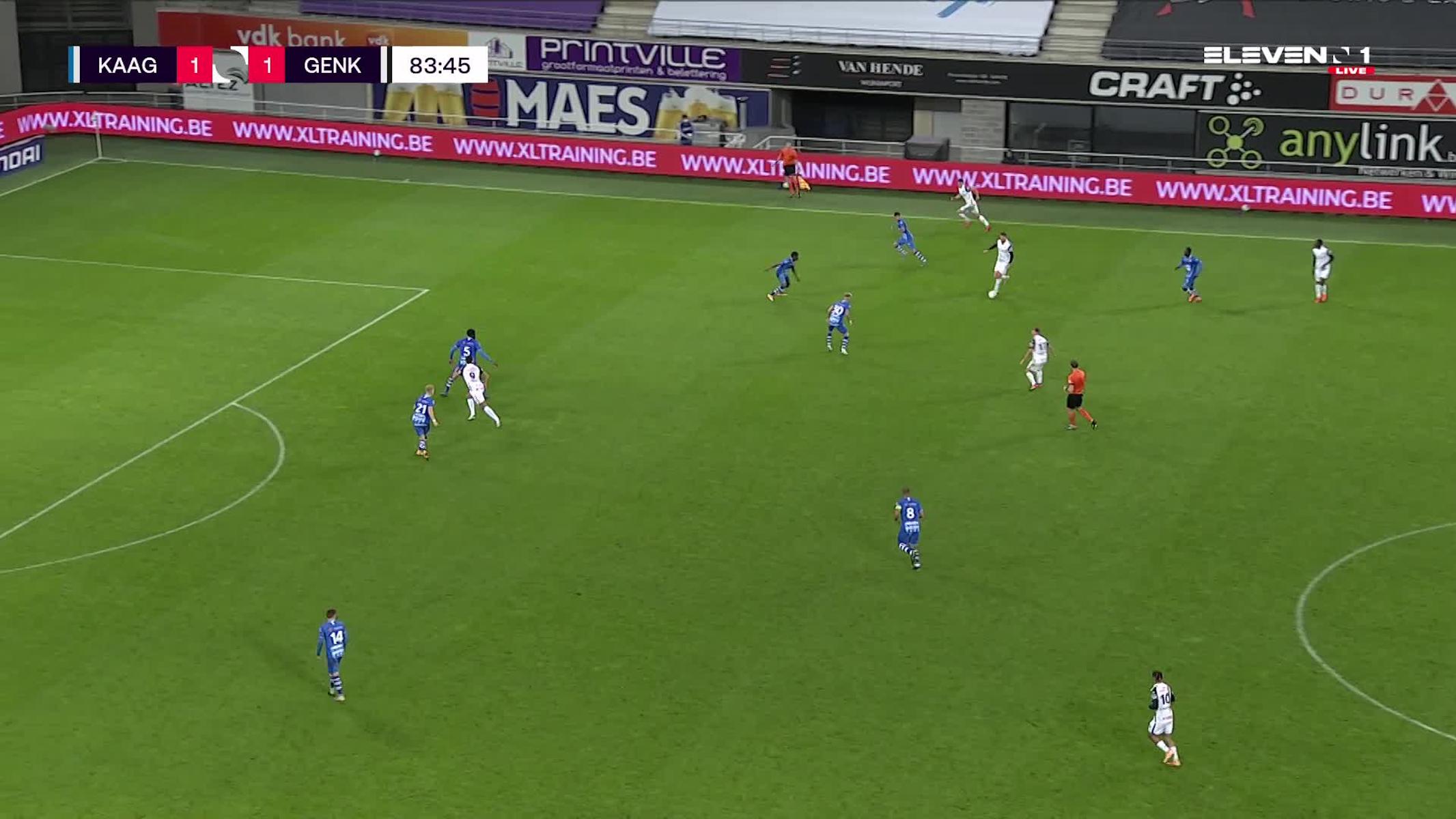 Doelpunt Patrik Hrosovsky (KAA Gent vs. KRC Genk)