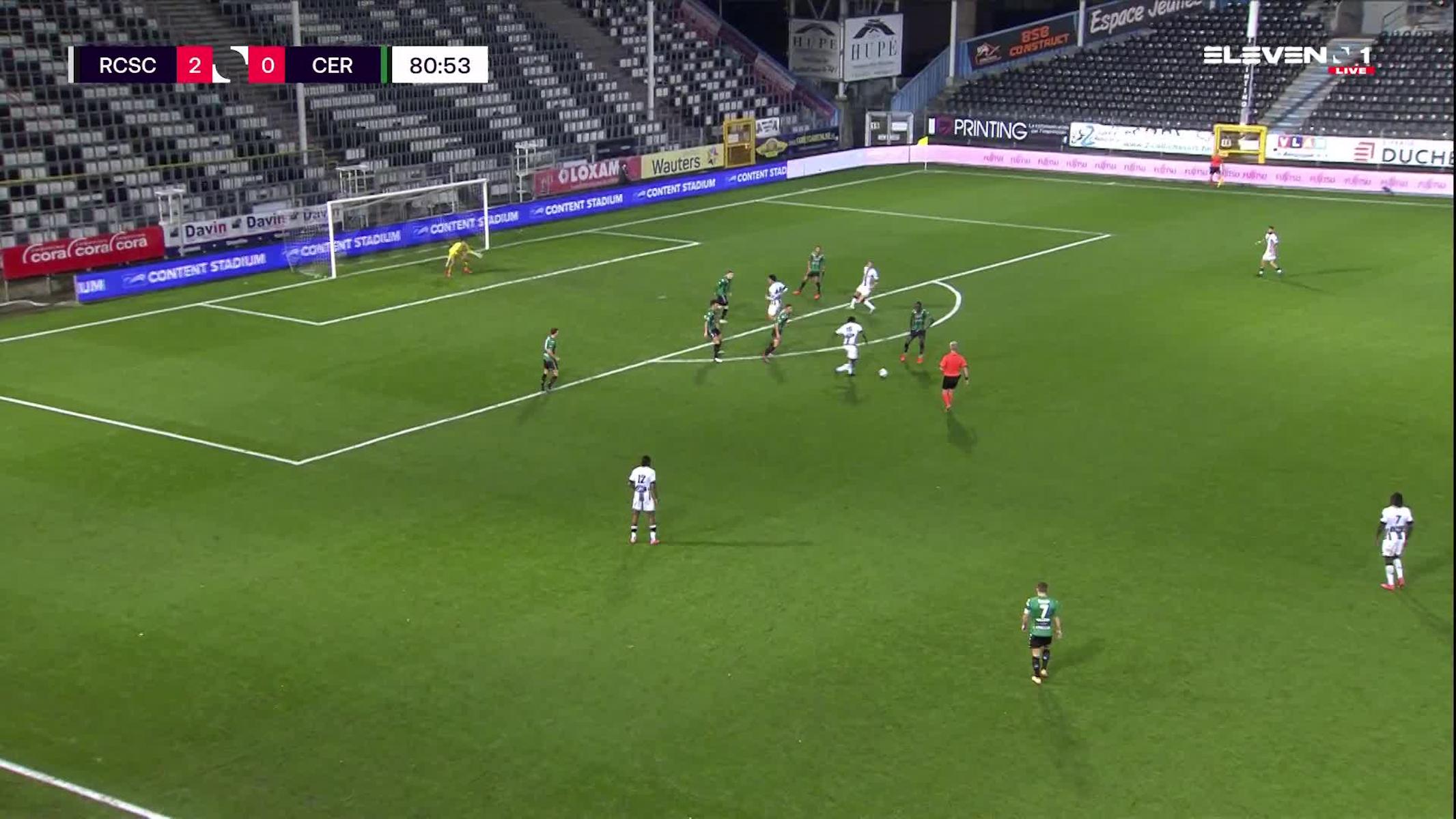Doelpunt Shamar Nicholson (Sporting Charleroi vs. Cercle Brugge)