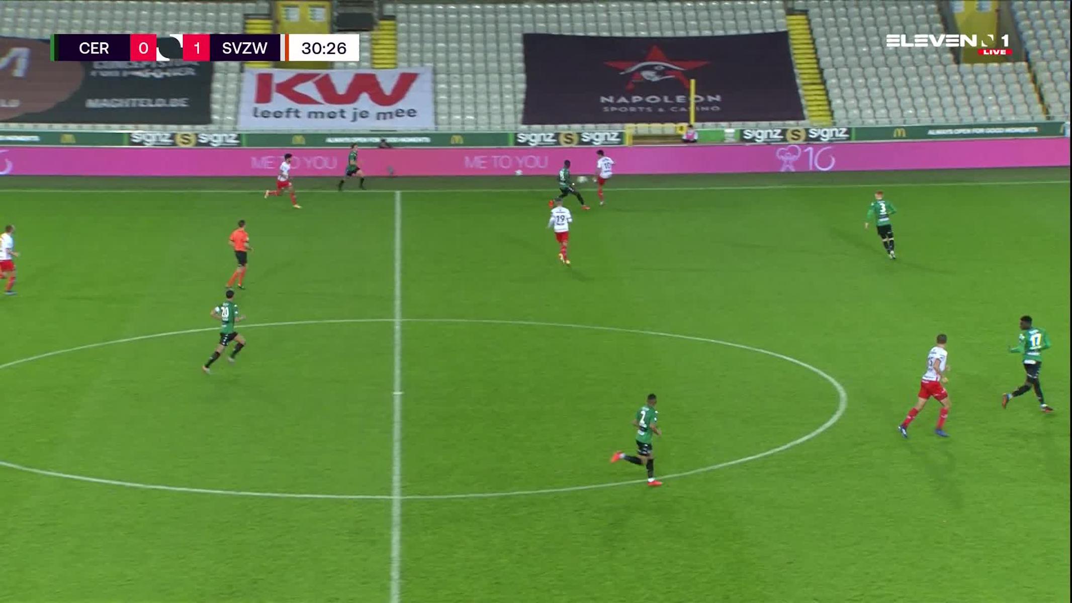 Doelpunt Gianni Bruno (Cercle Brugge vs. SV Zulte Waregem)