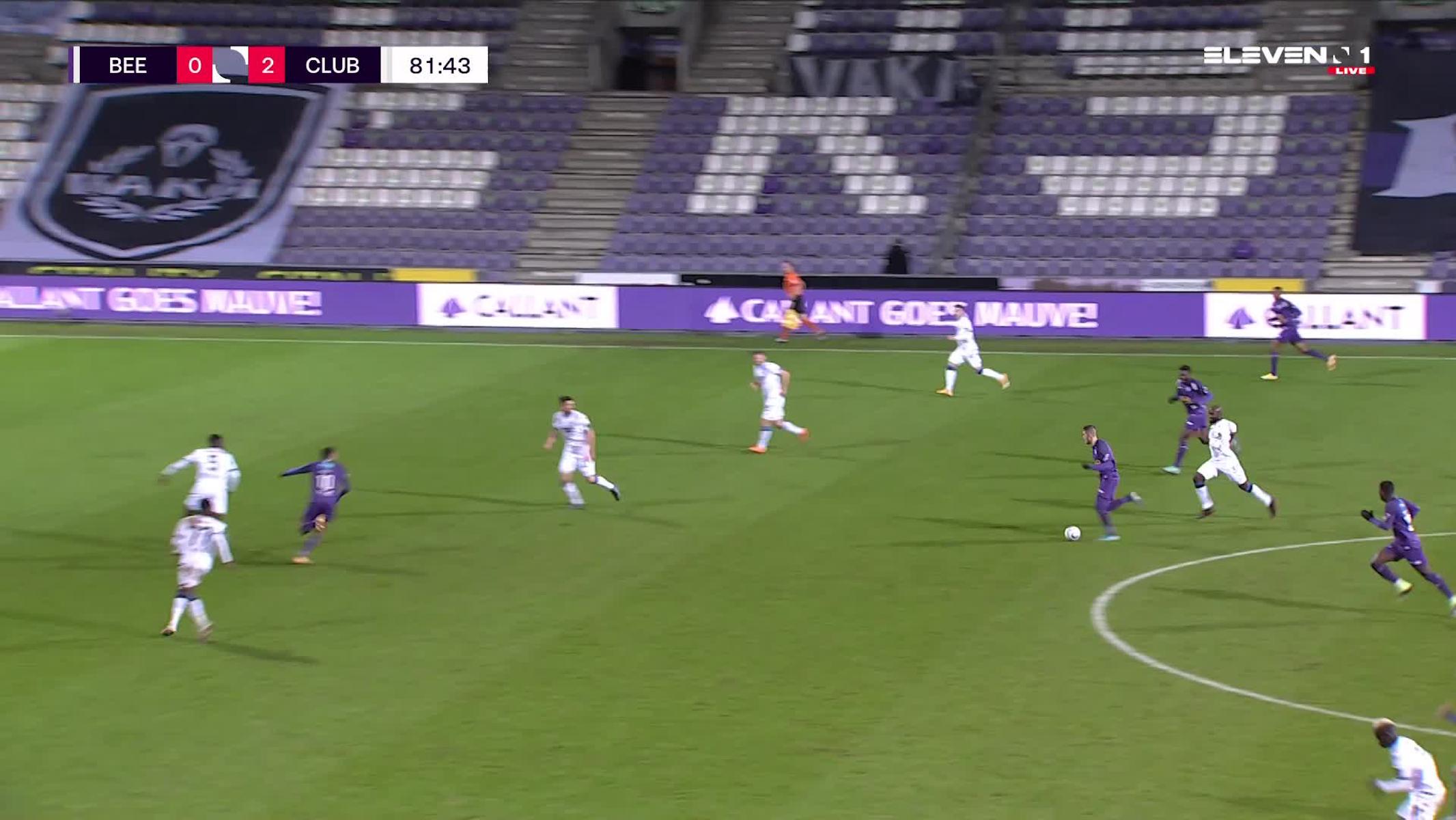 Doelpunt Noa Lang (K. Beerschot V.A. vs. Club Brugge)