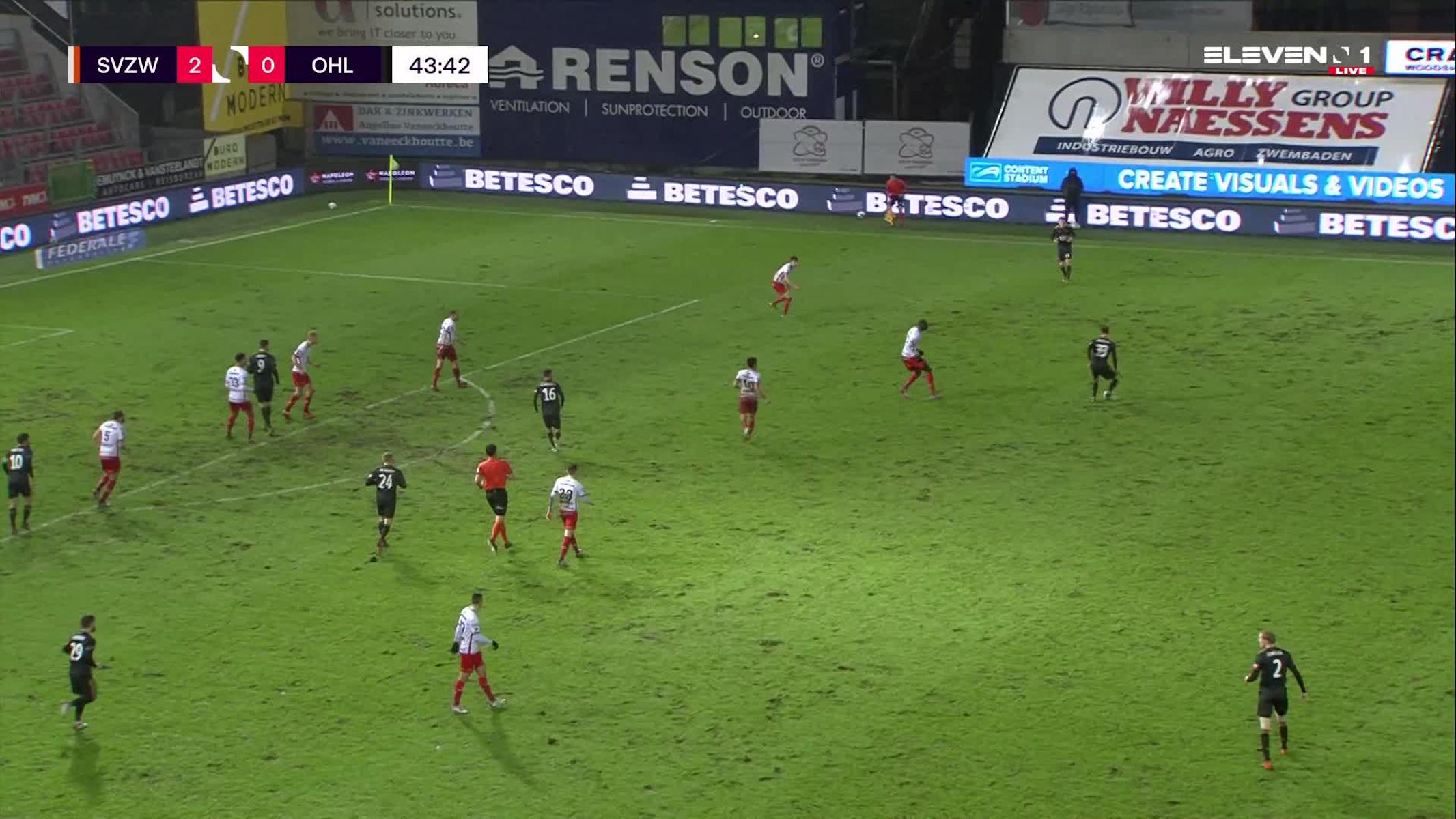 Doelpunt Xavier Mercier (SV Zulte Waregem vs. OH Leuven)