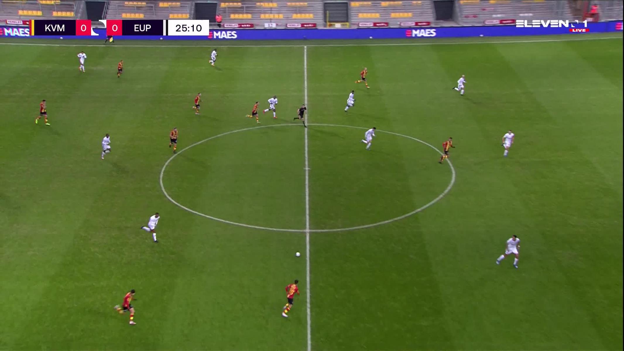 Doelpunt Geoffrey Hairemans (KV Mechelen vs. KAS Eupen)