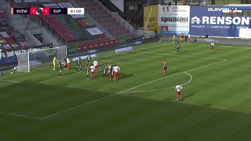 Doelpunt Laurens De Bock (SV Zulte Waregem vs. KAS Eupen)