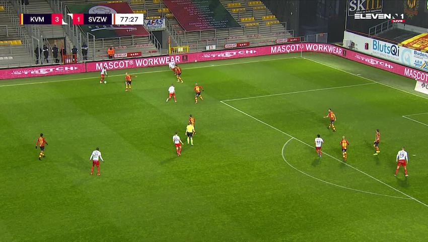 Doelpunt Gianni Bruno (KV Mechelen vs. SV Zulte Waregem)