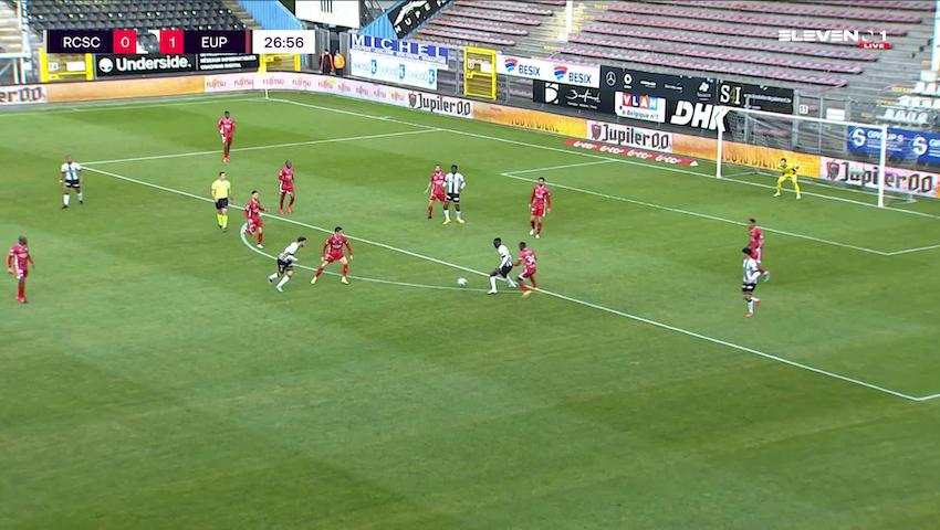 Doelpunt Smail Prevljak (Sporting Charleroi vs. KAS Eupen)