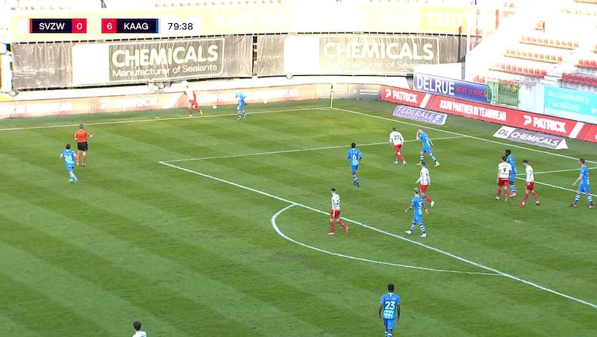 Doelpunt Gianni Bruno (SV Zulte Waregem vs. KAA Gent)