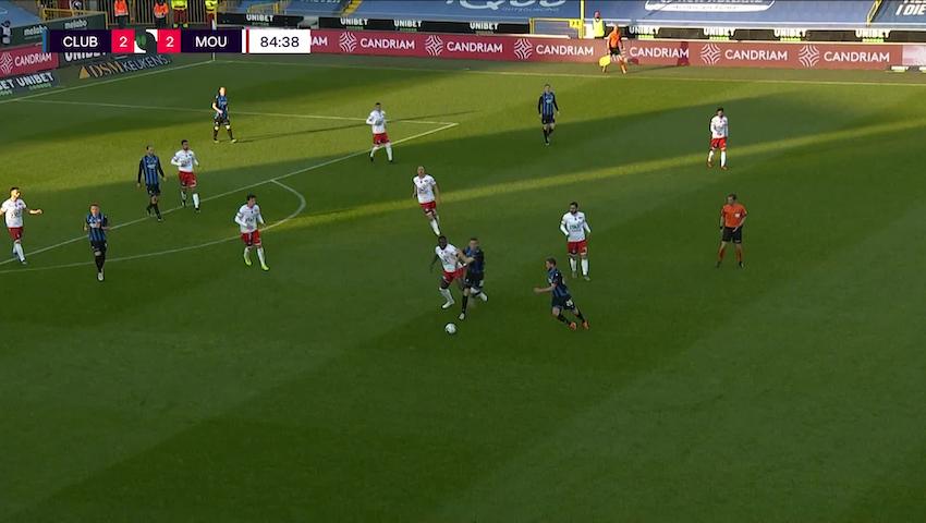 Doelpunt Noa Lang (Club Brugge vs. Royal Excel Mouscron)