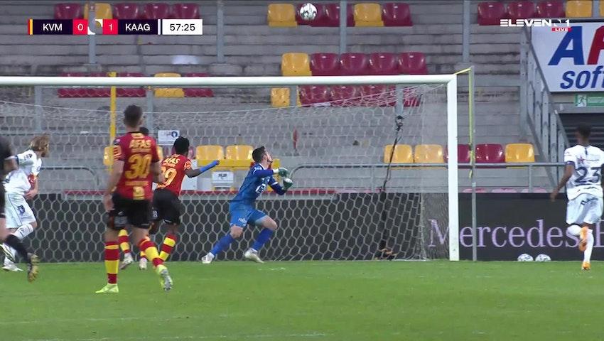 Doelpunt Roman Bezus (KV Mechelen vs. KAA Gent)