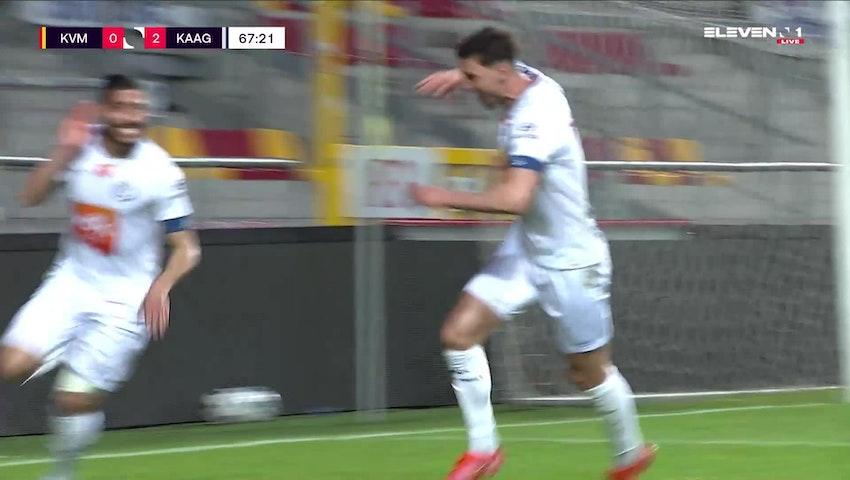 Doelpunt Tarik Tissoudali (KV Mechelen vs. KAA Gent)