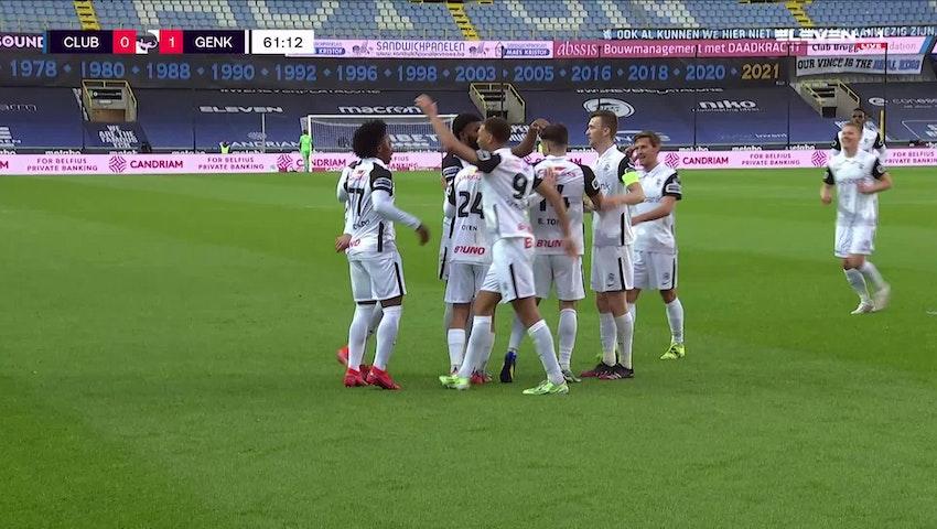 Doelpunt Bastien Toma (Club Brugge vs. KRC Genk)
