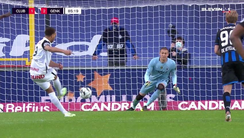 Doelpunt Cyriel Dessers (Club Brugge vs. KRC Genk)